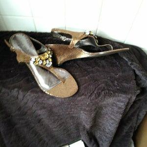Shoes - Bronze sandal w/lrg rhinestones.